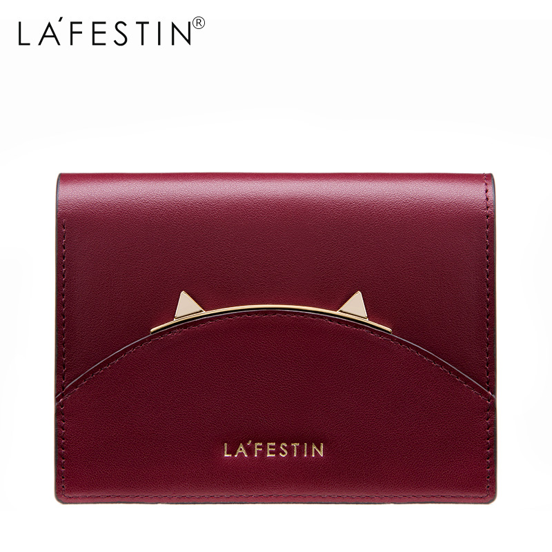 LAFESTIN Cat ear Genuine Leather Women Mini Wallet Leather Coin Purse Coin Credit Card Holder Zipper Women's Wallet leather look mini skirt with zipper details