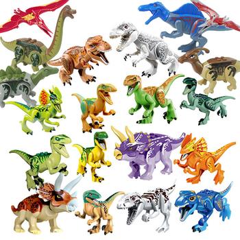 Legoings Jurassic dinozaury świat Park Dinosaur Raptor ochrony strefy bloki budowlane zestaw dzieci zabawki Juguetes kompatybilny Legoing tanie i dobre opinie Hua Tang Xin Yue Plastikowe Self-Locking Bricks 6 years old MADE IN Chiny Legoing Technic Jurassic dinozaury świat Park Legoings