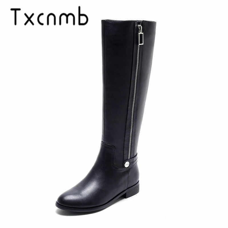 TXCNMB 2019 Laarzen Vrouwen Knie Hoge Laarzen voor Vrouwen Winter Echt Leer 3cm Hoge Hak Schoenen Vrouw Szie 41 42