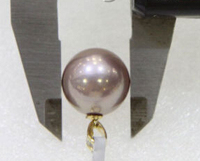 Free shipping 004907 AAA 13 13.5MM ROUND PURPLE SOUTH SEA PEARL NECKLACE PENDANT