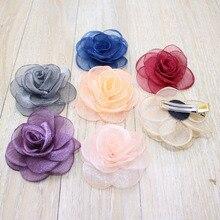 2 шт./лот 7 цветов яркие Цветущие розы цветок заколка для волос сетка Шпилька для девочек головной убор Детские аксессуары для волос