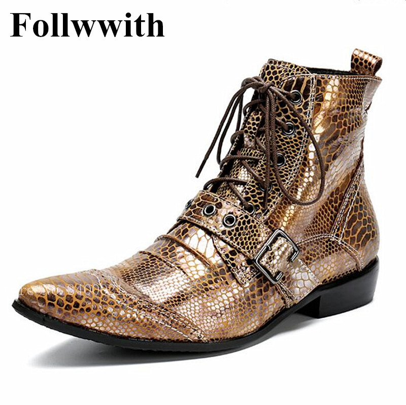 цены 2018 Follwwith Punk Style Snakeskin Leather Men Ankle Boots Pointed Toe Lace Up Zipper Men Shoes High Top Strap Cool Men Shoes