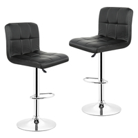 JEOBEST 2pcs Synthetic Adjustable Swivel Bar Stools Stainless Steel Adjustable Height Chair 2 Colors FR Stock