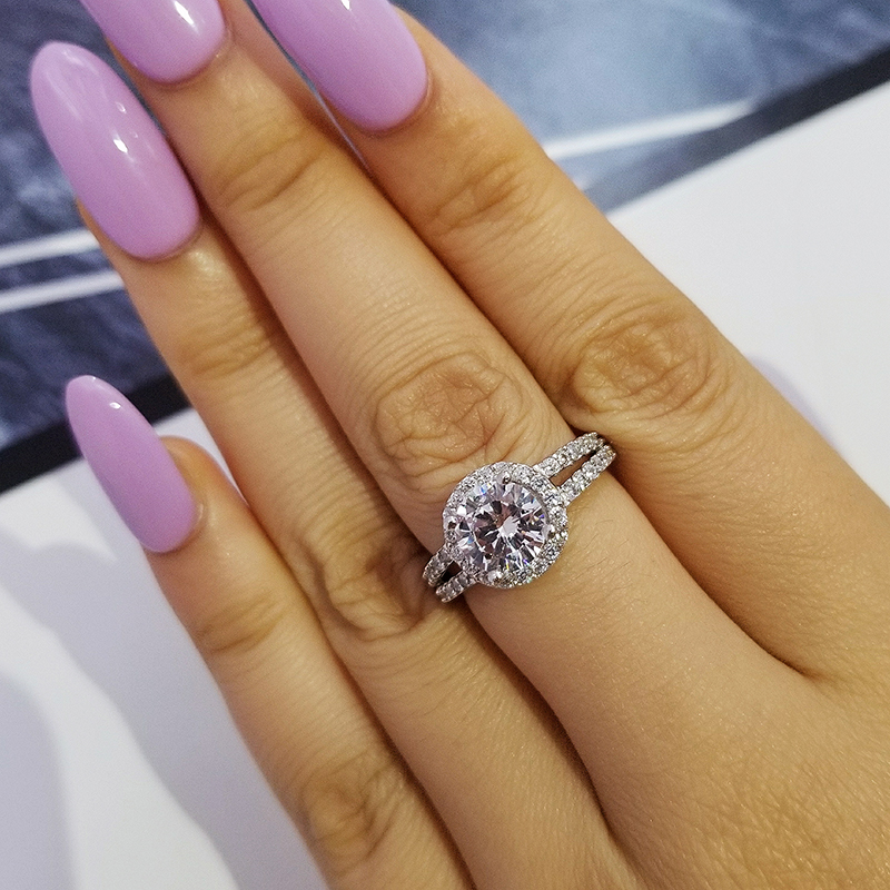 Moonso Real 925 Sterling Silver Halo Ring for Women Wedding Engagement Wholesale Finger Rings Jewelry LR211AS