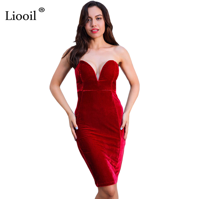 bfa8987f5007 Liooil Sexy Birthday Party Dresses Off Shoulder Sleeveless Backless  Strapless Black Red Velvet Club Bodycon Women Dress