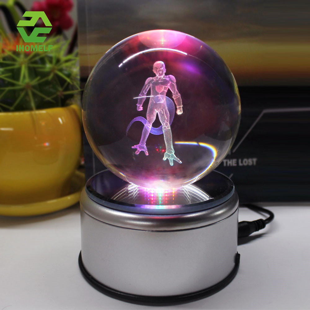 Frieza 3D Crystal Ball Lamp Death Star Iron Man Glass Ball Engraving Round With LED Colorful Rotation Base Child's Gift