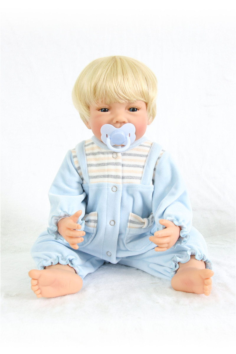 Poupées silicone reborn bébé garçon poupées vraie blonde Bebes reborn menino bonecas 55 cm avec peluche Surprise cadeau Santa bebe - 5