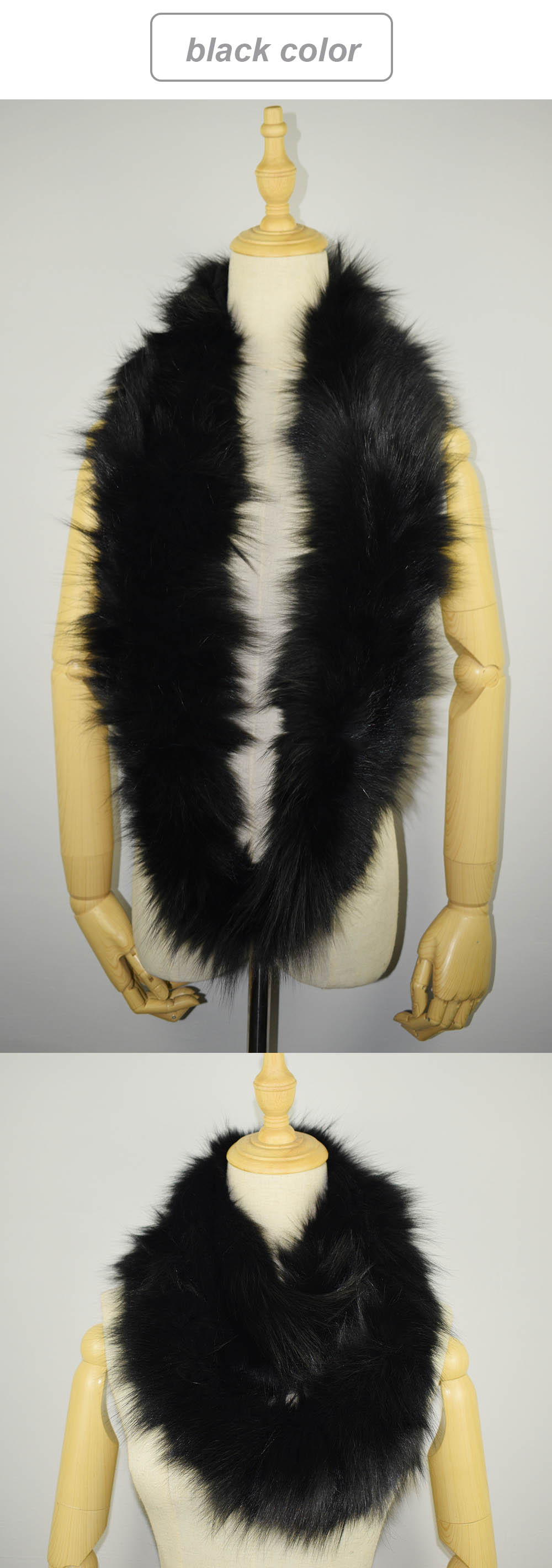 knit fox fur scarf black color