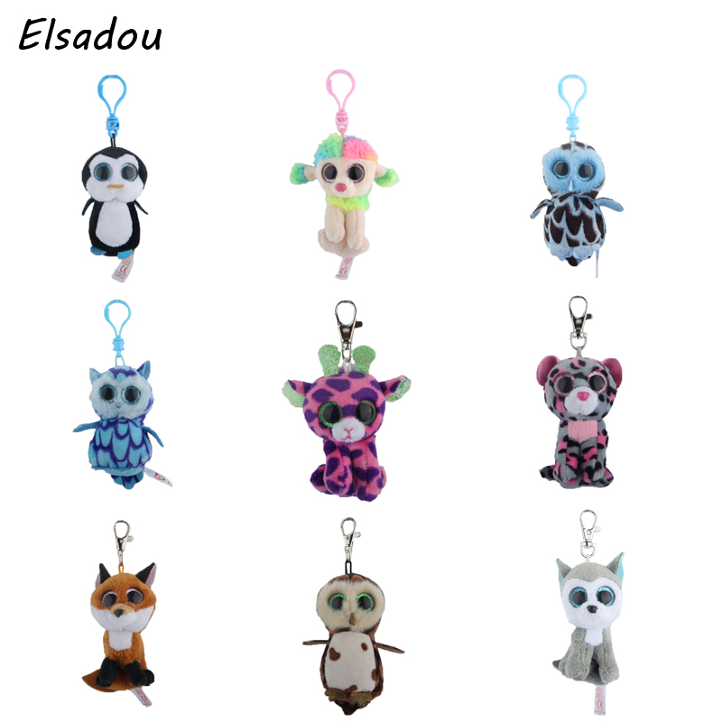 Elsadou Ty Beanie Boos Big Eyes Plush Keychain Toy Doll TY Baby Kids Gift gonlei ty beanie boos original big eyes plush toy doll child birthday gray elephant fish ty baby 10 15cm