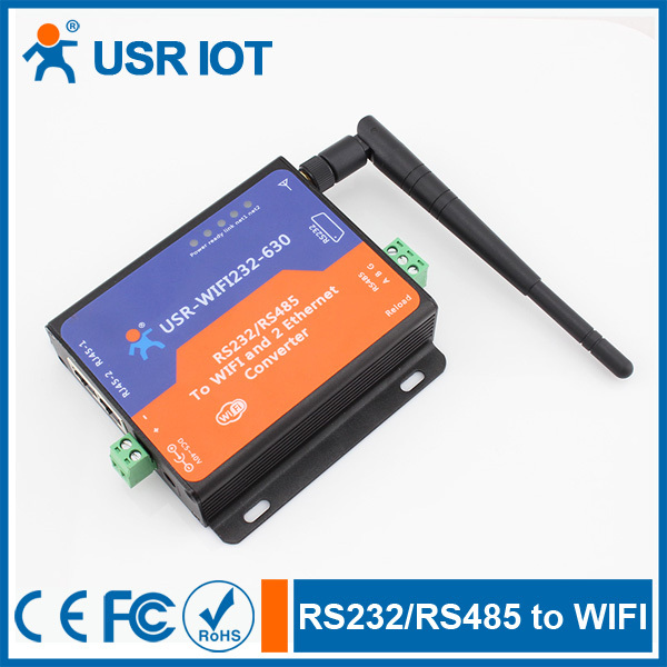 Q044 [USR-WIFI232-630] Serial RS232/ RS485 to Wifi Server with 2 Channel RJ45 Voltage 5-40V esp 07 esp8266 uart serial to wifi wireless module