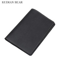 KUDIAN BEAR Passport Cover Genuine Leather Passport Holder Men Travel Passport Wallet For Documents Porte Carte
