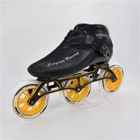 CITYRUN 6 Layers Carbon Fiber 3X125mm Marathon Inline Speed Skates Shoes 3 Wheels 125mm Champion Racing Boot Frame Wheel Bearing