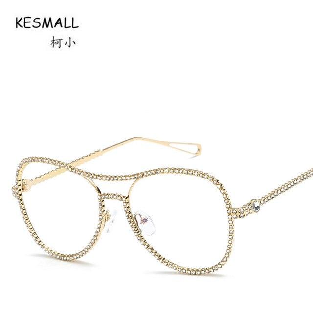 KESMALL Fashion Brand 2018 New Retro Glasses Frame Rhinestone ...