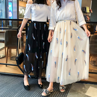 2019 summer new embroidered mesh skirt pleated skirt fairy pettiskirt long feather high waist skirts