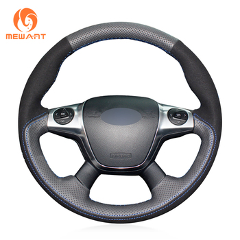 MEWANT Black Genuine Leather Black Suede Steering Wheel Cover for Ford Focus 3 2012-2014 KUGA Escape 2013-2016 C-MAX 2011-2018