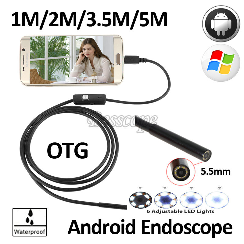 5.5mm Android USB Endoscope Camera Micro USB Endoscope 1M 2M 3.5M 5M Snake Flexible USB Waterproof Inspection Borescope Camera 7mm lens mini usb android endoscope camera waterproof snake tube 2m inspection micro usb borescope android phone endoskop camera