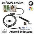 5.5mm android usb endoscopio endoscopio cámara micro usb 1 m 2 m 3.5 m 5 m usb impermeable de la serpiente flexible boroscopio cámara de inspección