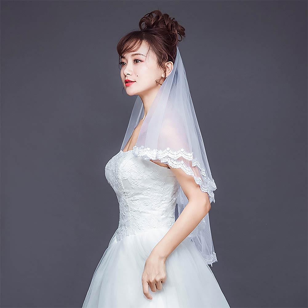 Double Layer Short Bridal Hair Veil
