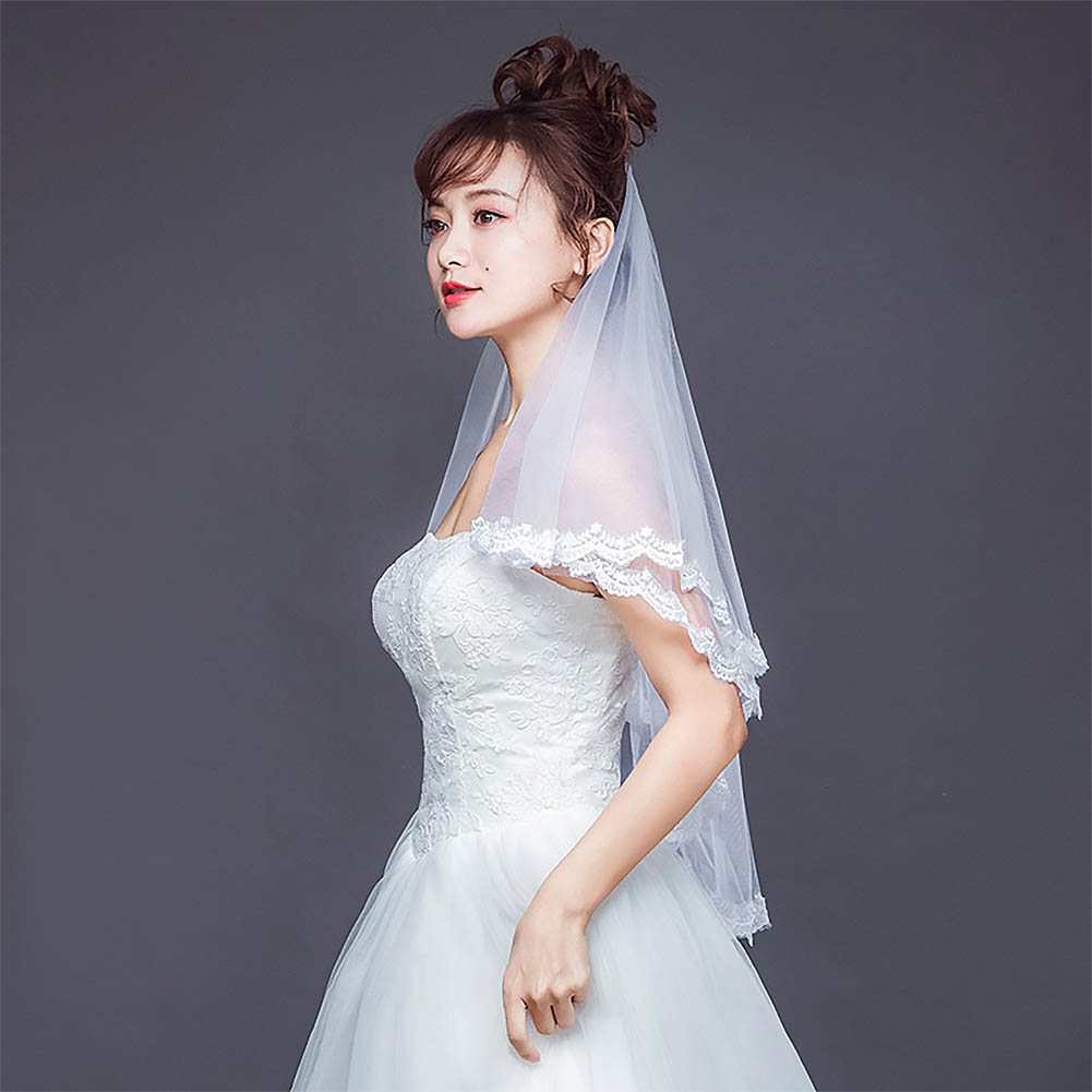 FORSEVEN Ivory Cathedral Double Layer Short Bridal Hair Veil Lace Edge With Comb Bride Veil Headpiece Wedding Accessories JL