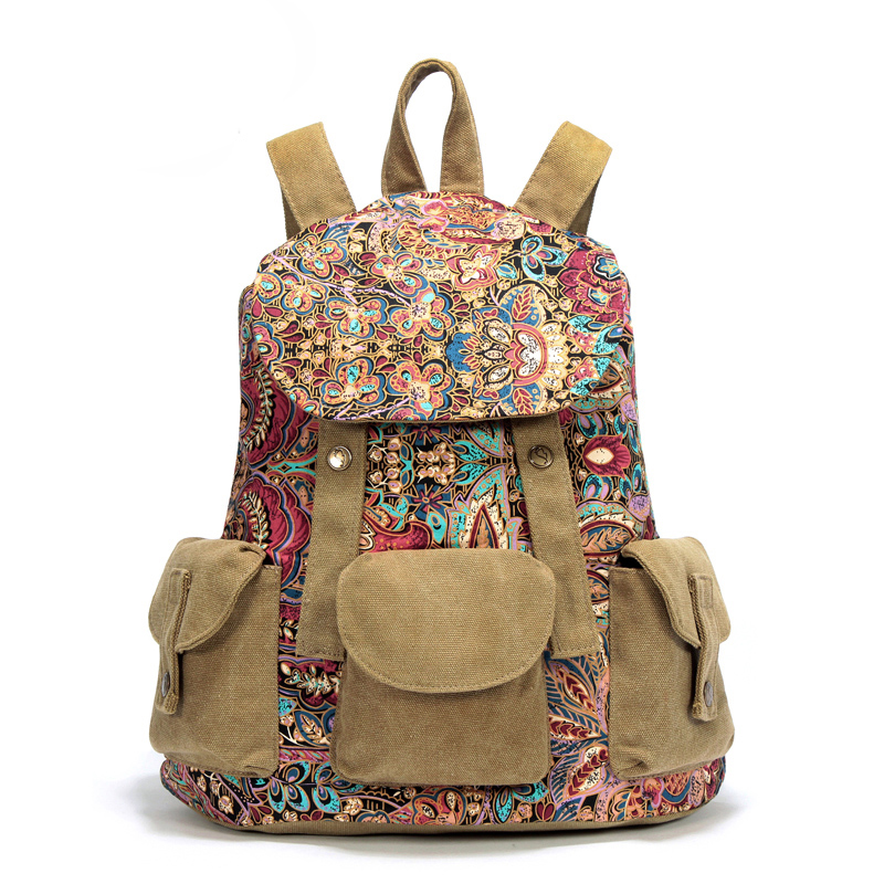 Canvas Light Women Travel Bags Backpack Bags Bags Kids Backpack Girl National Wind Pack High School Bag Female Leisure Backpacks