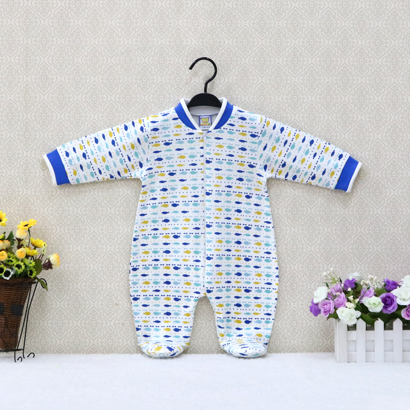 Little Q New Arrival Pure Cotton Newborn Zipper Print One Piece   Romper   Baby Long Sleeve Clothes Kidswear Spring Girl Sleepweat