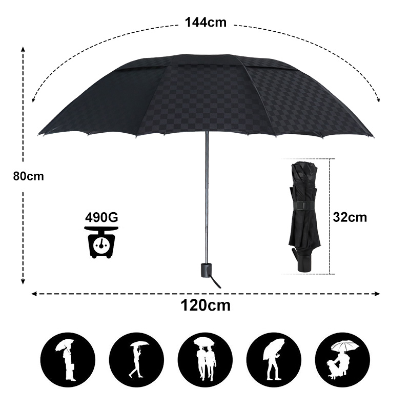 c3369dde0237 Double Layer Big Umbrella Rain Women Men 3Folding 10K Windproof Business  Umbrellas Male Dark Grid Parasol Family Travel Paraguas