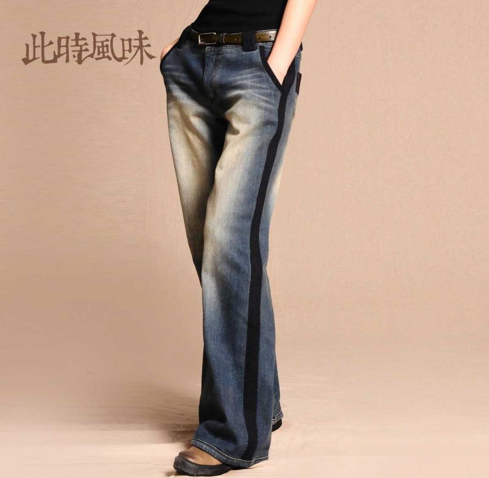 2015 New Brand Plus Size Loose Straight Jeans Female Waist Wide Leg Denim Pants Heavy Washed Vintage Patchwork Denim Pants H3504 charter club new brown straight leg women s size 10 corduroys pants $59 114