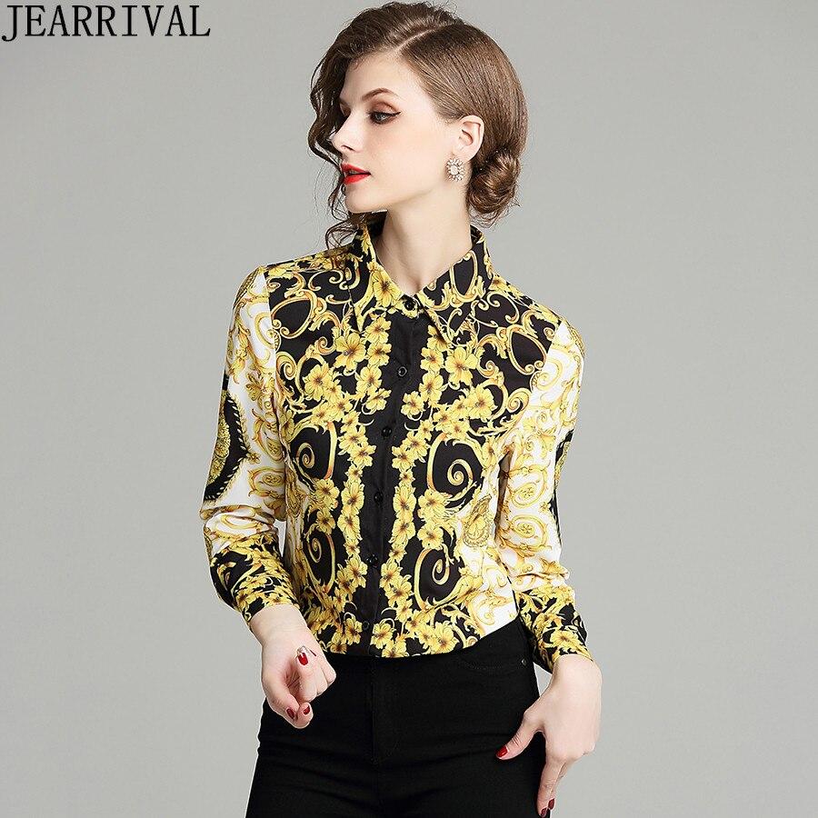 Spring Autumn Shirt Women Long Sleeve Tops Runway Designer Blouse Vintage Print Slim Casual Shirts Blusas Mujer De Moda 2018