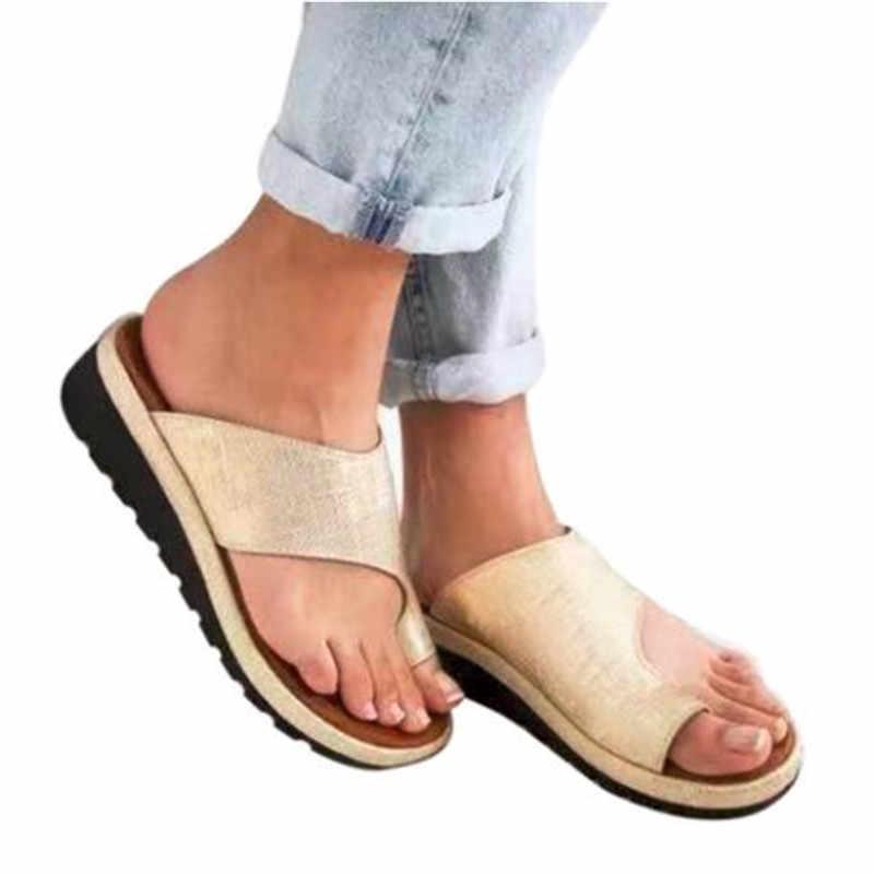 ผู้หญิงรองเท้าแบนรองเท้าผู้หญิงนุ่มสบายเท้าแก้ไข Sandal Orthopedic Bunion Corrector