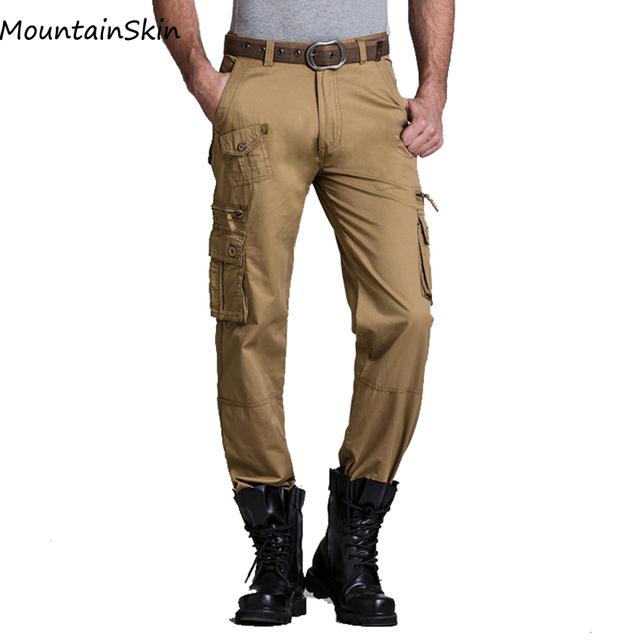 Pantalones de Los Hombres Militares Mountainskin Verde Del Ejército Pantalones Cargo Pantalones Hombres Pantalones Tácticos Casuales Ropa de Algodón Multi Bolsillos LA012