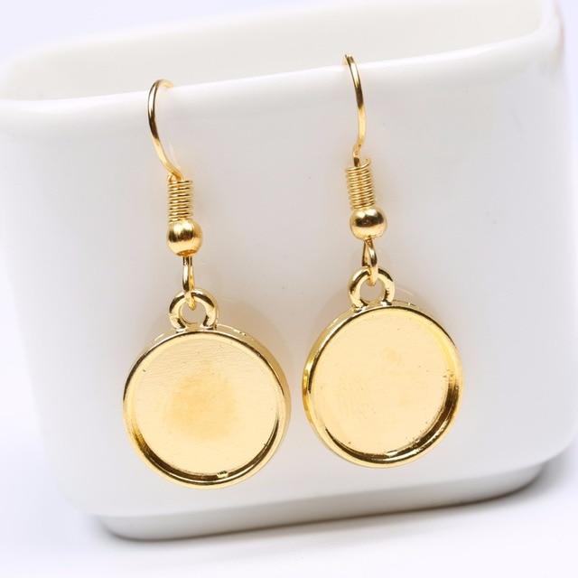 Onwear 20pcs Fit 12mm Gl Cabochon Earring Settings Tray Gold Plated Hooks Diy Earrings Base