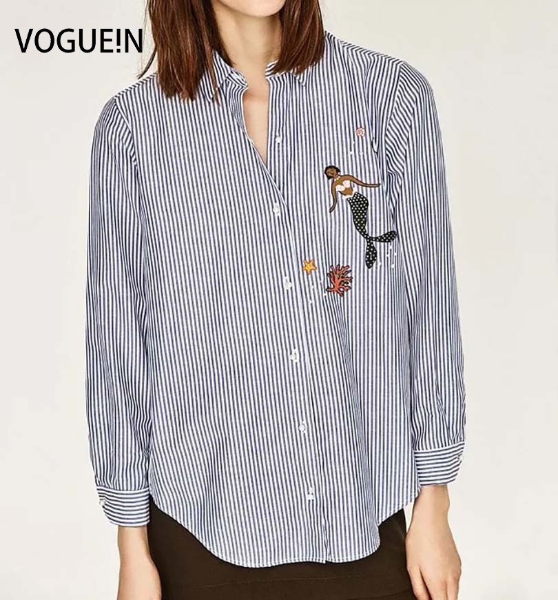 VOGUE!N New Womens Ladies Lapel White Blue Stripes Animal Mermaid Embroidered Beaded Long Sleeve   Blouse     Shirt   Tops