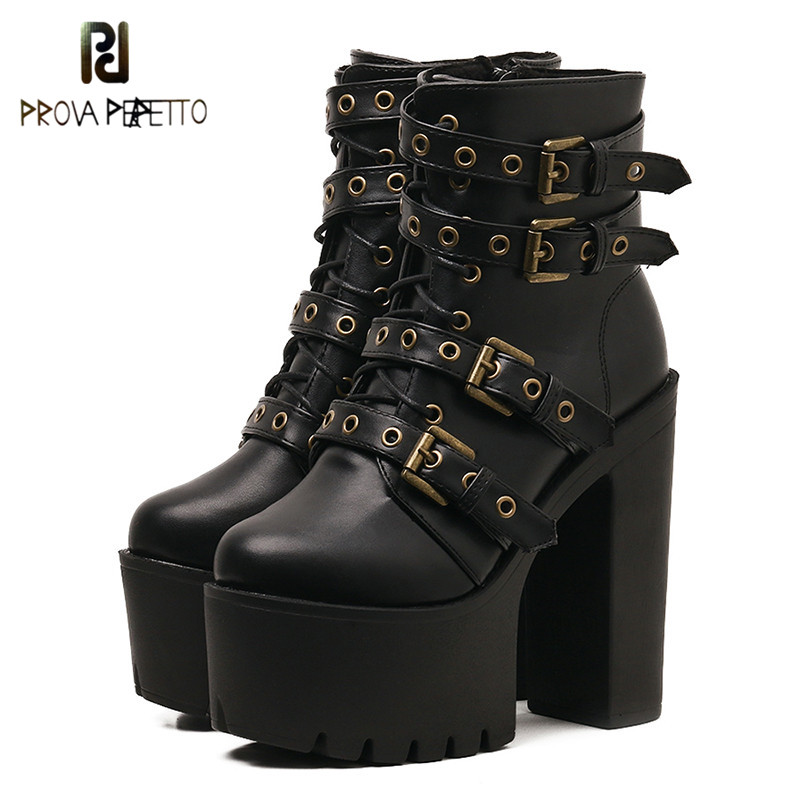 Prova perfetto Sexy Rivet Black Ankle Boots Women Platform Soft Leather Autumn Winter Ladies Boots Zipper