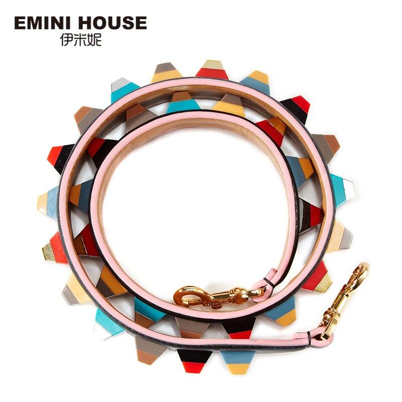 EMINI HOUSE Genuine Leather Shoulder Strap Colorful Acrylic Women Bag Strap 89cm*4cm