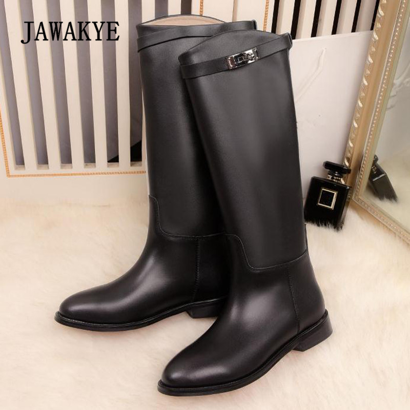 все цены на 2018 Silver Lock Buckle Thigh High Boots Women Round Toe Black Red Brown Grey Real Leather Knee High Boots Woman Long Boots онлайн