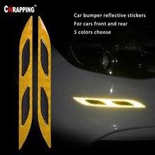 цена 2Pcs/Lot Car Front And Rear Bumper Reflective Warning Tape Strip Carbon Fiber Car Reflector Stickers Auto Accessorie  Hot Sale онлайн в 2017 году