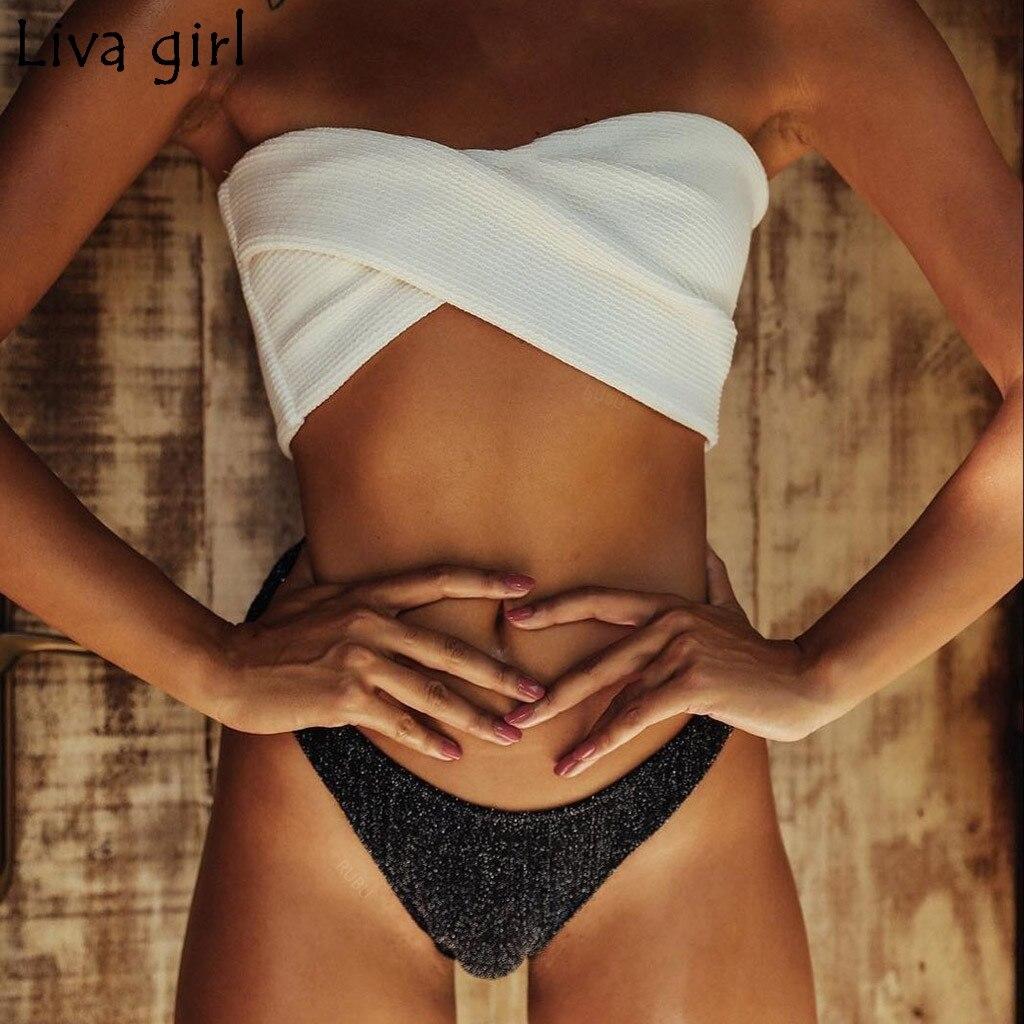 Liva Girl Solid Bikinis Set Sexy New Swimsuit Push Up Bikini White Bathing Suits Brazilian Girls Swim Female Body Swimsuit