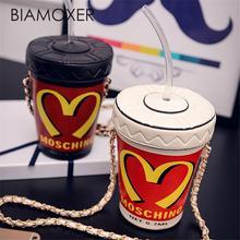 Biamoxer 여성 컵 미니 소형 크로스 바디 숄더 체인 버킷 백 토트 핸드백 지갑 로리타 코스프레