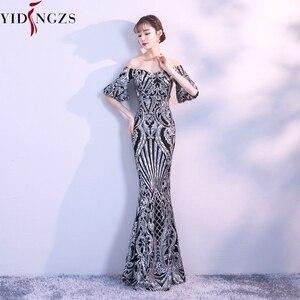 Image 5 - Вечернее платье YIDINGZS, черное/золотое с рукавами фонариками, 2020