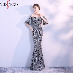 Image 5 - YIDINGZS New Flare Sleeve Black Gold Heavy Sequins Evening Dress 2020 Boat Neck Formal Evening Party Dress YD260