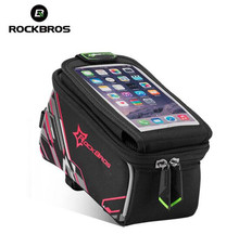 цена на ROCKBROS Cycling Bag Moutain Road Mtb Bike Bicycle Bag Phone 6.0 Inch Riding Touch Screen Tube Roswheel Bag Bike Accessories