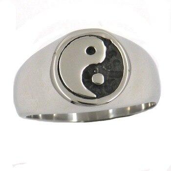 Кольцо инь янь из нержавеющей стали модель 2