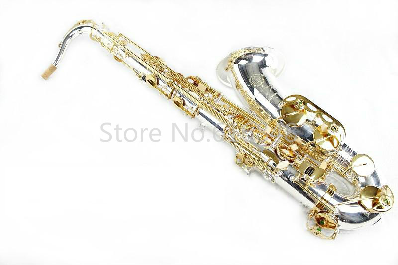 Selma 54 Brand Bb Tenor Saxophone B Flat Gold Lacquer Key Silver Plated Tube Professional Brass Sax Musical Instrument With Case professional silver gold plated marching french horn bb monel valves with case