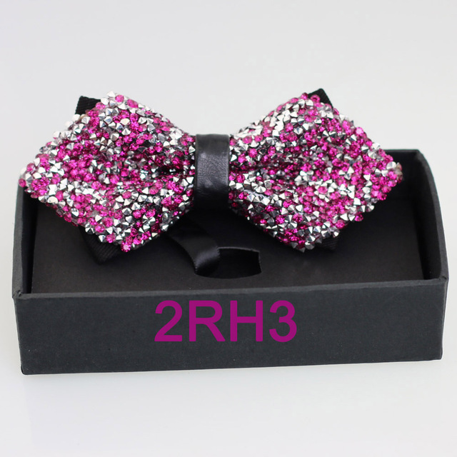 b827a21d098f YIBEI Coachella Ties Adult Silver Hot Pink Bow Ties Prom Perform Diamond  Butterfly Gift Boxed Borboletas