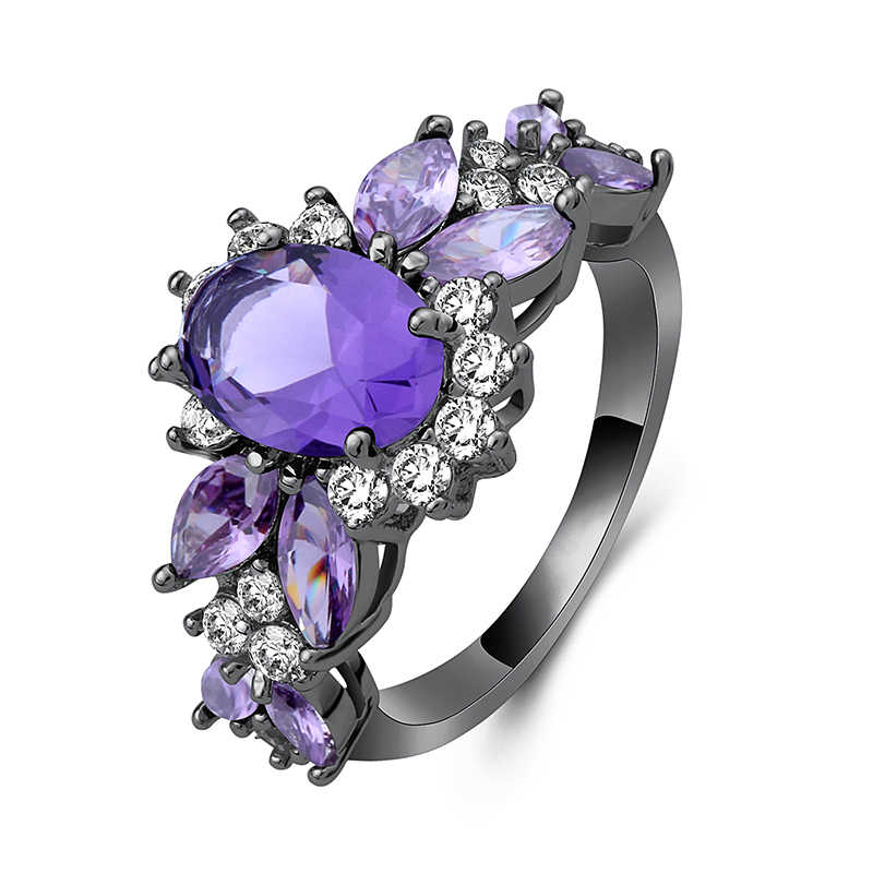 New Flower Shape Rings for Women Female Wedding Ring Red Purple Flower Shape Crystal Ring Jewelry Engagement Gifts for Women