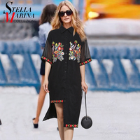 2017 European Fashion Summer Women Black Chiffon Shirt Dress Short Sleeve Open Hem Flower Appliques Casual