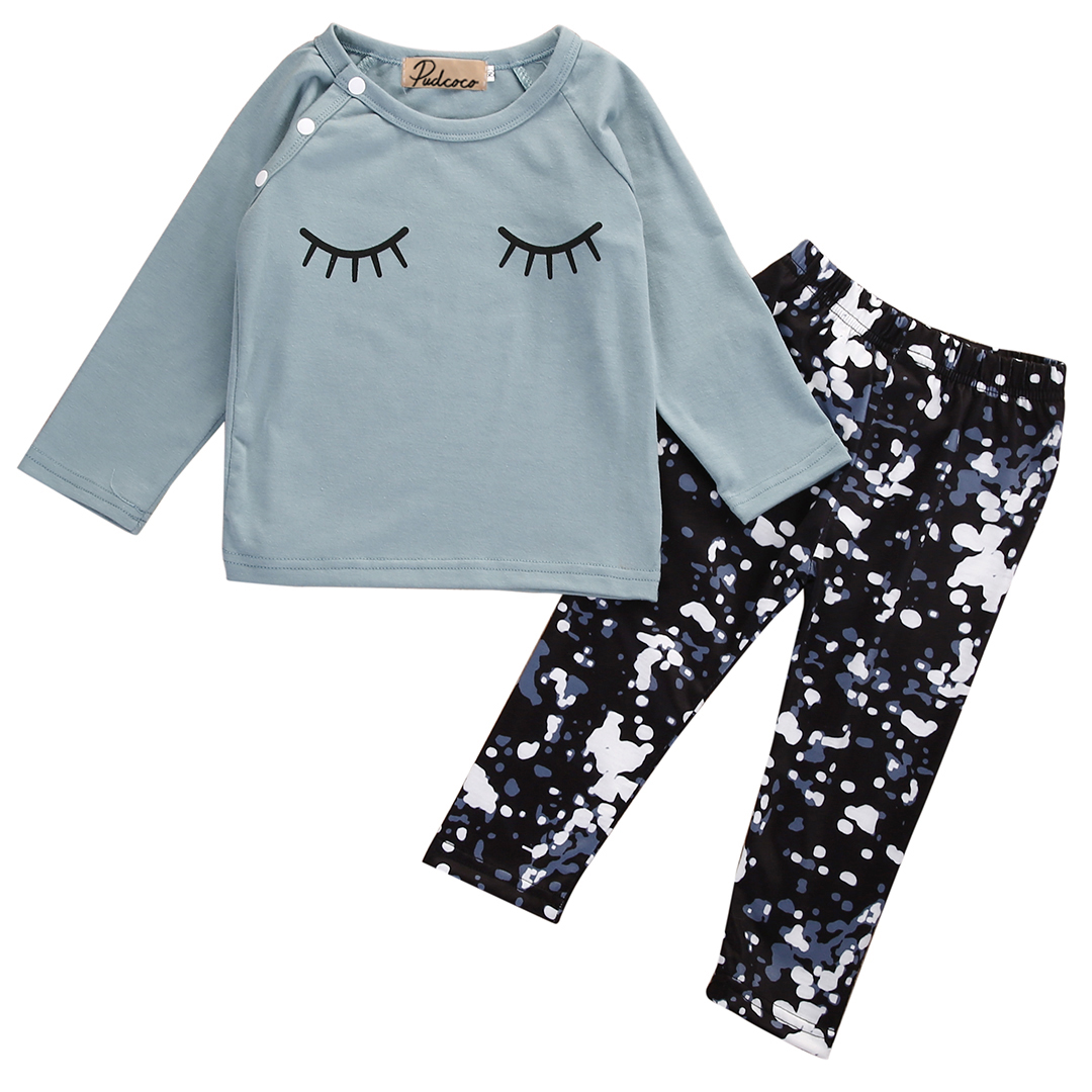 Spring Autumn Toddler Kids Infant Baby Girls Clothing Set Outfit Clothes Eyelash T-shirt Tops+Pants 2PCS 0-24M infant baby boy girl 2pcs clothes set kids short sleeve you serious clark letters romper tops car print pants 2pcs outfit set