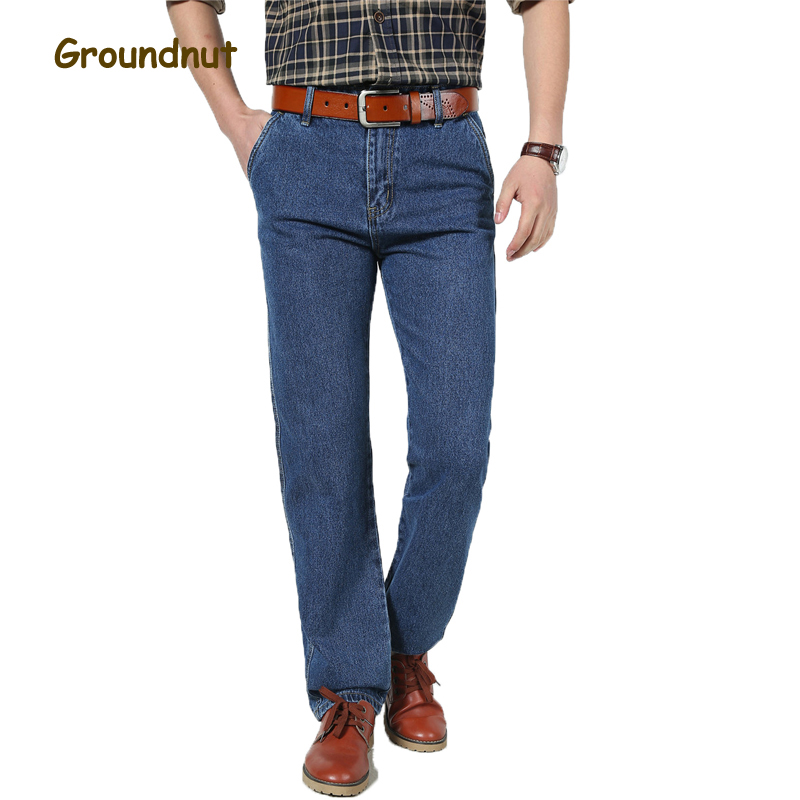 Groundnut Brand 100% Pure Cotton Business Straight Leg High Waist Long Classic Jeans Men Denim Pants Male Casual Trousers new plus size 28 50 brand men designer stretch casual straight leg denim jeans male regular fit cotton business trousers pants