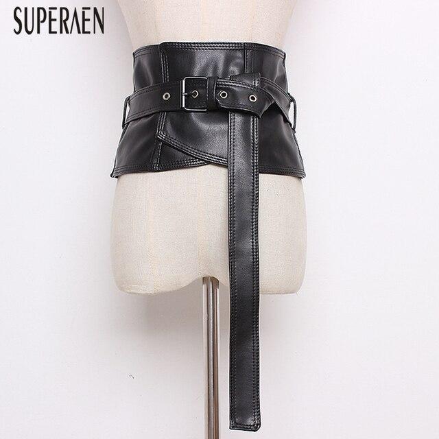 SuperAen Europe Leather Cummerbunds Women Wild Wide Belt Waist for Women New 2019 Solid Color Laides Cummerbunds