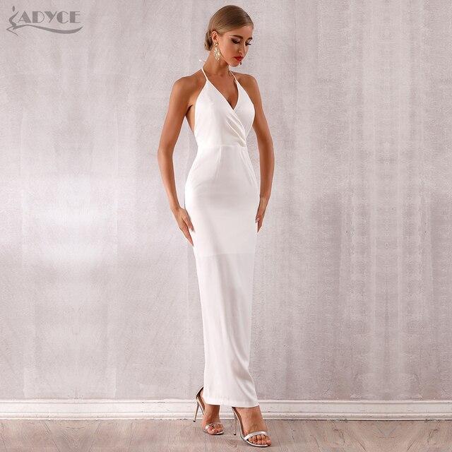 Adyce 2019 New Summer Maxi Celebrity Evening Party Dress Women Vestidos Halter Sexy V Neck Backless Sleeveless White Club Dress 1